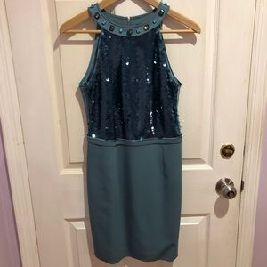 Elie Tahari Teal Sequin Dress Size 4